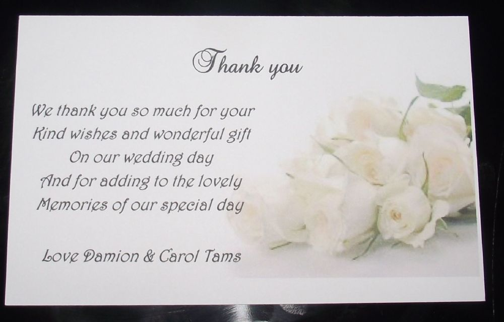 Thank You Cards Personalised Rose Design X 10